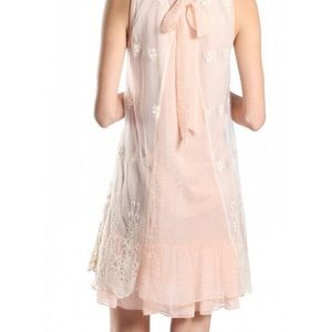 Mauve/Pink Embroidered Lace Overlay Dress